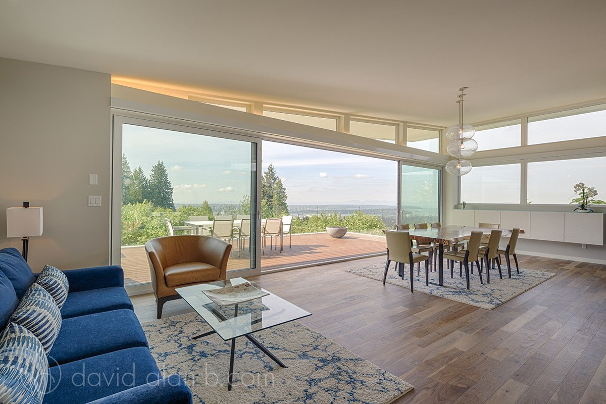 North Vancouver Custom Home Great Room View